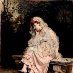 Joven dama en un jardín