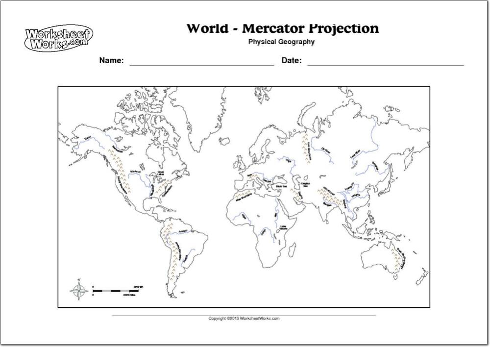 Mapa Físico Del Mundo Mapa De Ríos Y Montañas Del Mundo