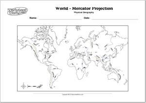 Mapa de ríos y montañas del Mundo. WorksheetWorks