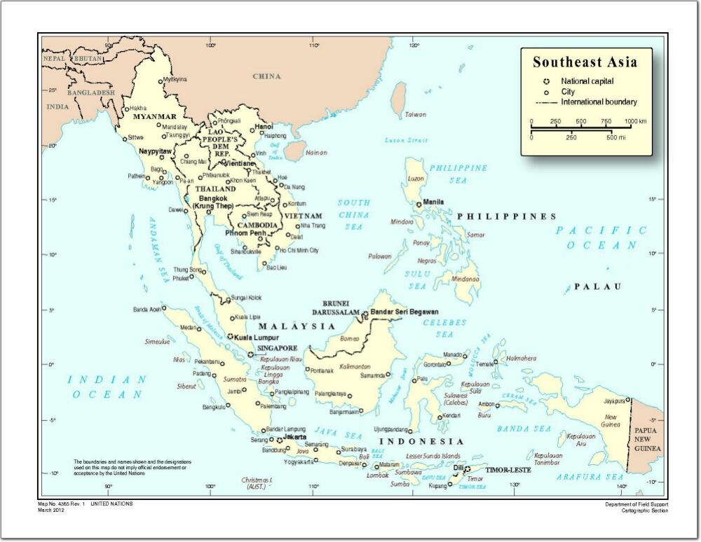 Mapa de países y capitales del sureste de Asia. Naciones Unidas