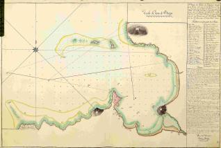 Plano del Puerto de Bayona en la ría de Vigo