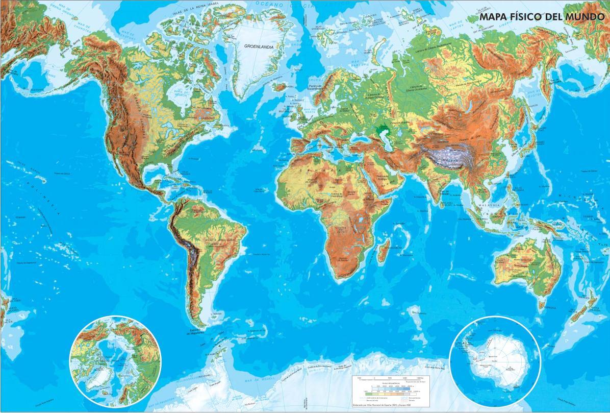 Mapa de ríos y montañas del Mundo.