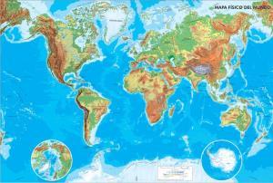 Mapa de ríos y montañas del Mundo. IGN