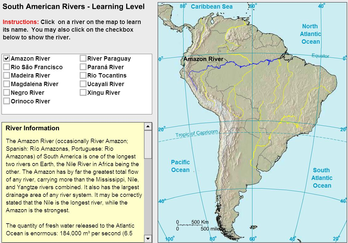 Rivers of South America. Tutorial. Sheppard Software