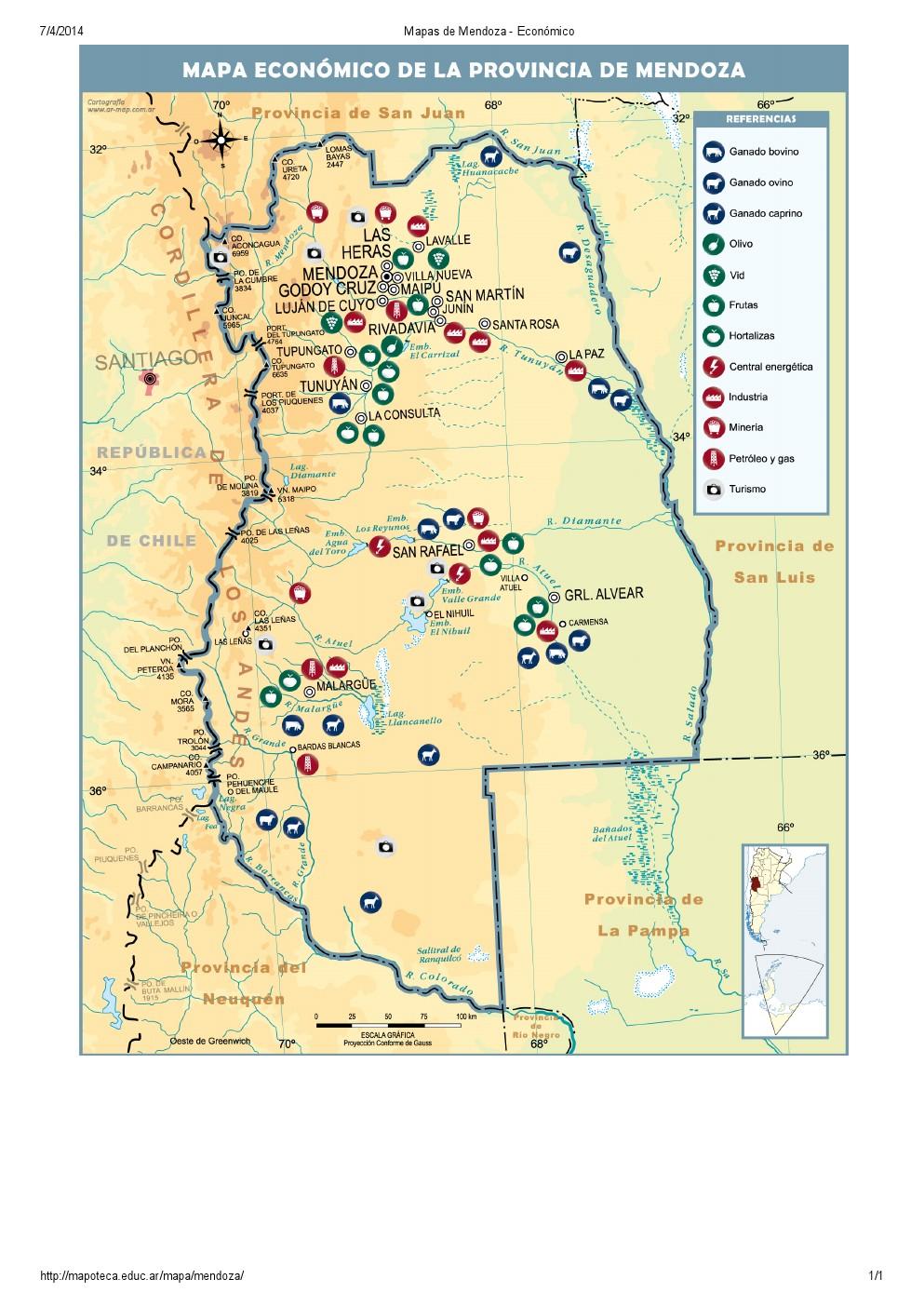 Mapa económico de Mendoza. Mapoteca de Educ.ar