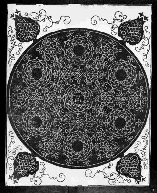 Modelo para bordado con siete círculos dentro de un círculo grande