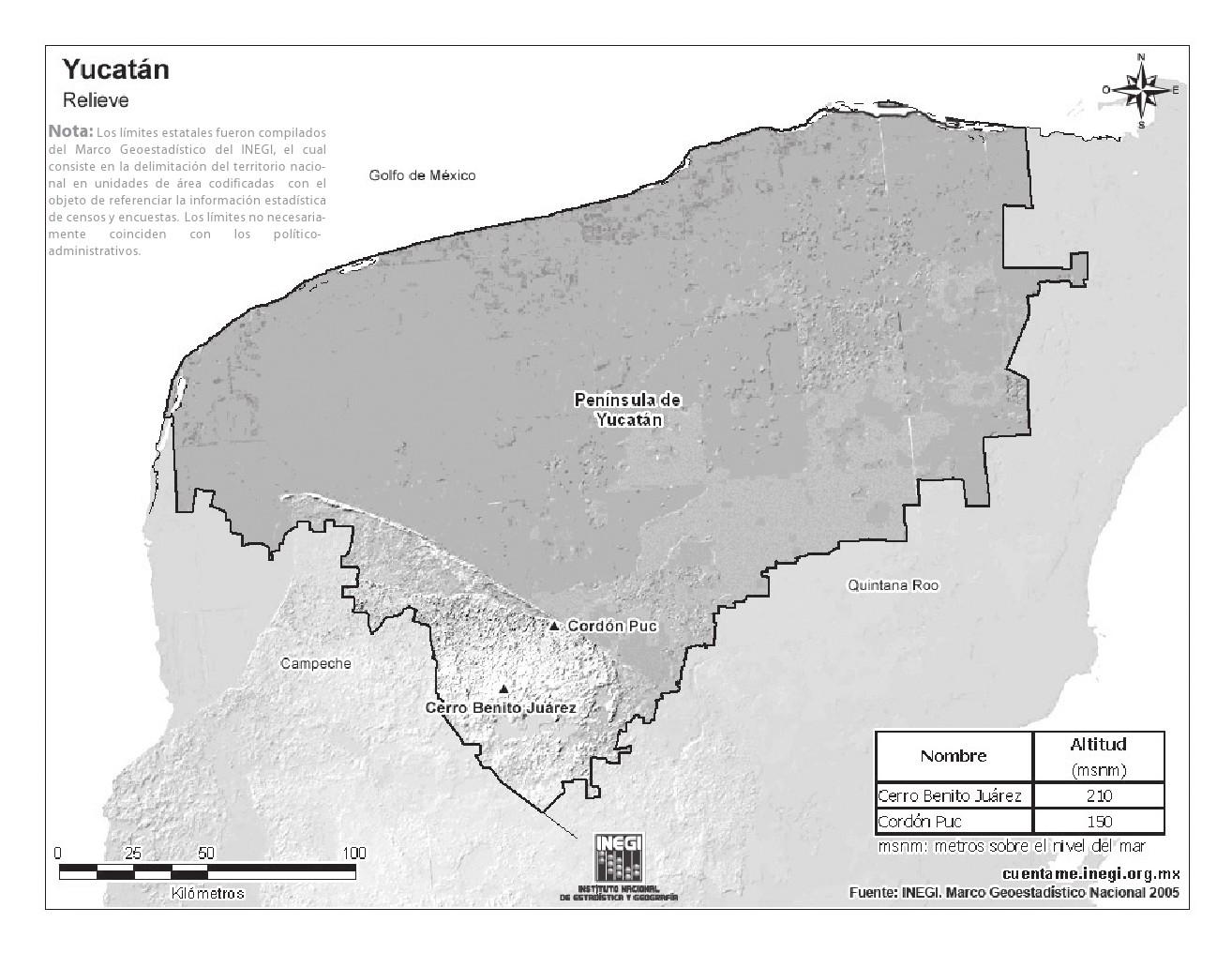 Mapa de montañas de Yucatán. INEGI de México