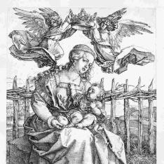 La Virgen con el Niño coronada por dos ángeles