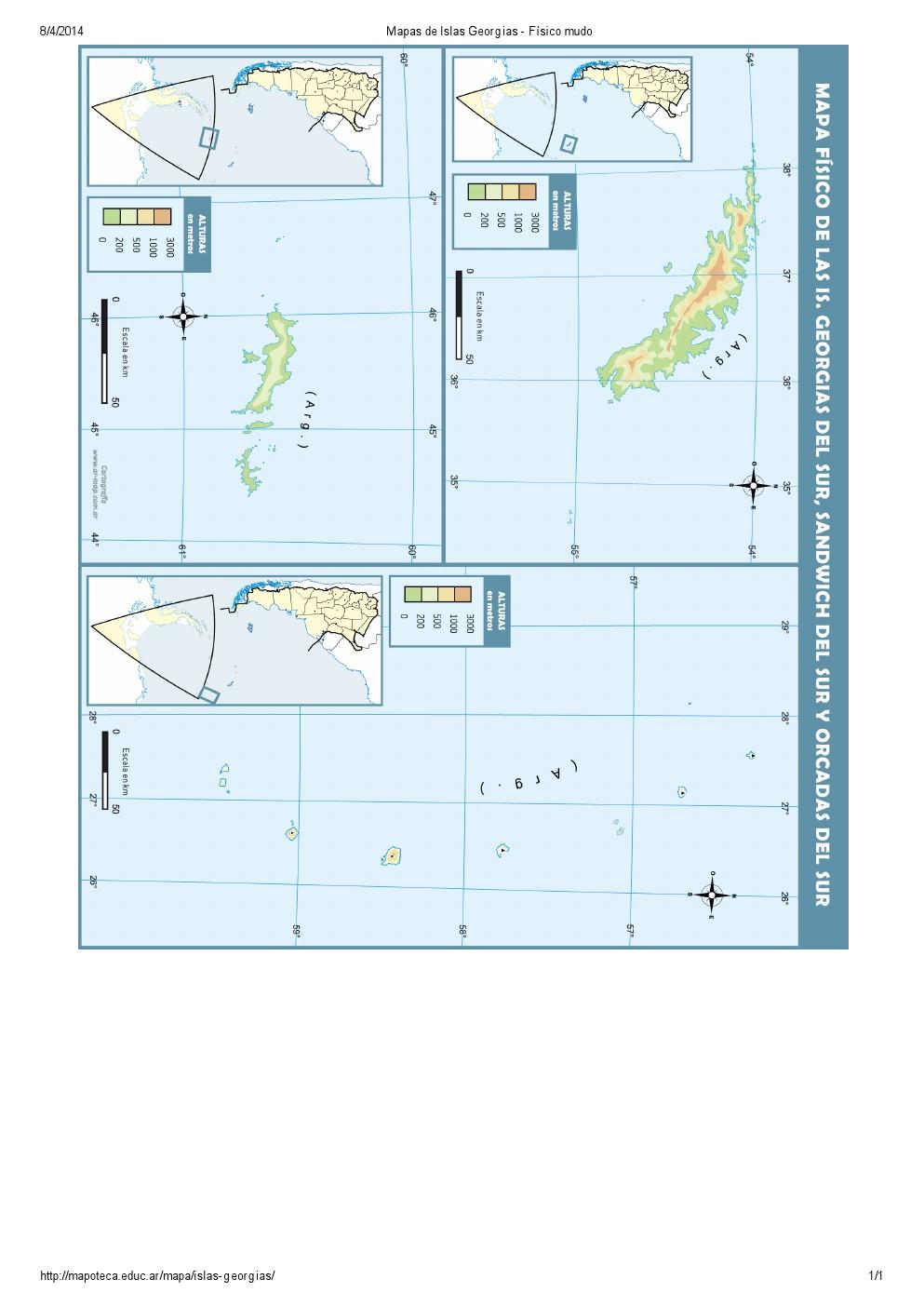 Mapa mudo de relieve de las Islas Georgias, Orcadas y Sandwich. Mapoteca de Educ.ar