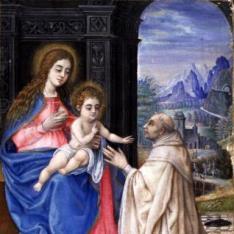 Virgen con el Niño adorados por San Bernardo