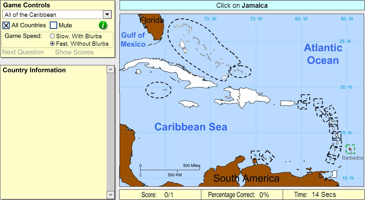 Countries of the Caribbean. Beginner. Sheppard Software