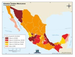 Mapa de producción ganadera de México. INEGI de México
