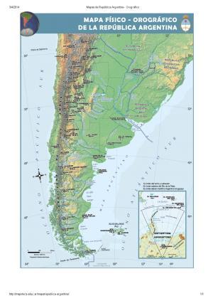 Mapa orográfico de Argentina. Mapoteca de Educ.ar
