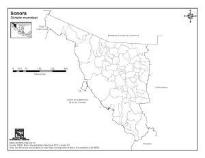 Mapa mudo de municipios de Sonora. INEGI de México