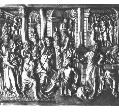 Placa con la parábola del rico Epulón y el pobre Lázaro y Sócrates entre sus discípulos antes de tomar la cicuta