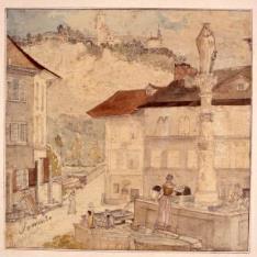 Plaza con fuente en Sorrento (Italia)