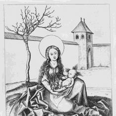 La Virgen con el Niño en un patio