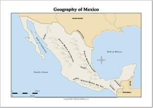 Mapa de ríos y montañas de México. WorksheetWorks