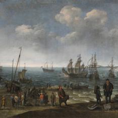Playa con pescadores