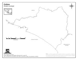 Mapa mudo de Colima. INEGI de México