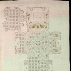 Planta del pavimento de la iglesia y de la sacristía del Monasterio de la Visitación (Salesas Reales) en Madrid
