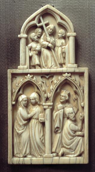 Placa con la Visitación, Adoración de los Magos y Cristo camino del Calvario