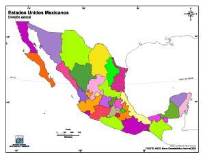 Mapa mudo en color de Estados Unidos Mexicanos. INEGI de México