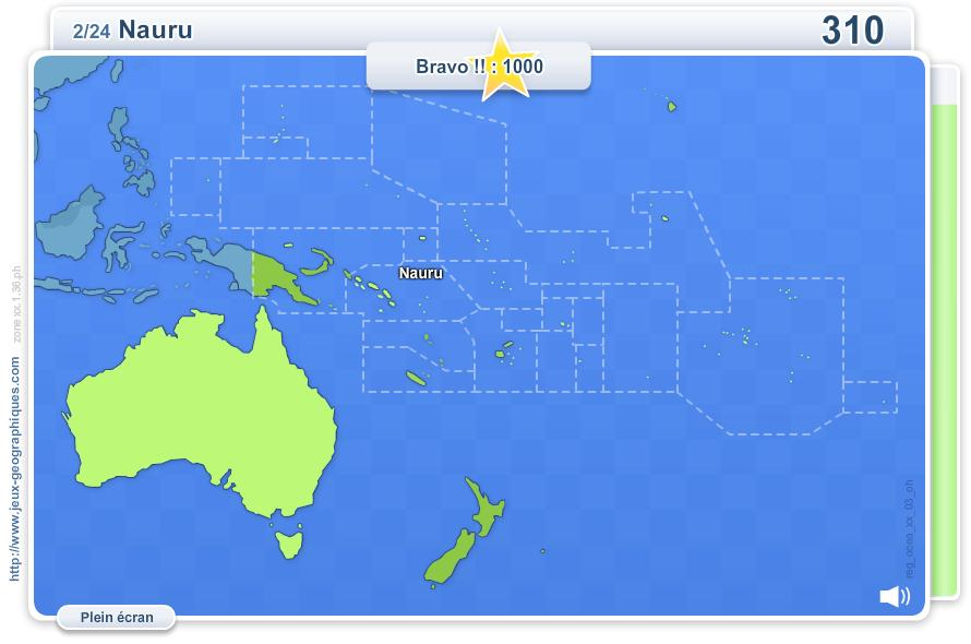 Pays d'Océanie. Jeux géographiques