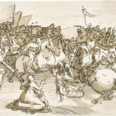Hersilia media para evitar la batalla entre los romanos y los sabinos