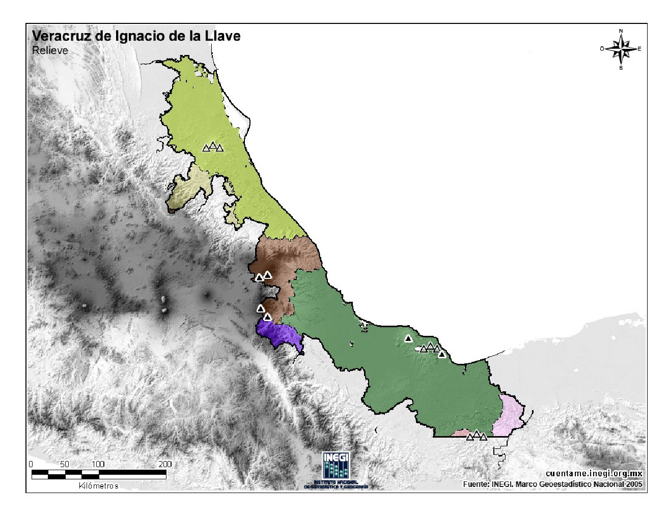 Mapa mudo de montañas de Veracruz. INEGI de México
