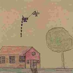 Combate aéreo sobre casa con árbol