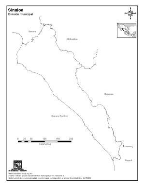 Mapa mudo de Sinaloa. INEGI de México