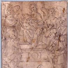 La Virgen y el Niño entronizados, con santos y ángeles