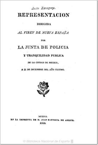 Representacion dirigida al virey de Nueva España por la Junta de policia y tranquilidad publica de la ciudad de Mexico, a 31 de diciembre del año ultimo