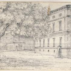 Vista de la fachada principal del Museo del Prado desde el sur