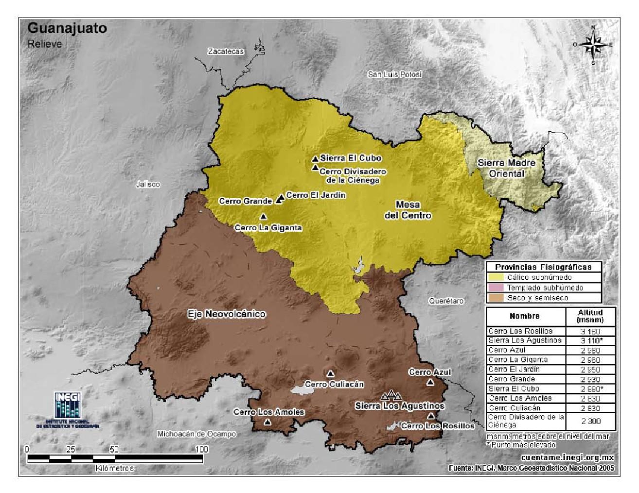 Mapa en color de montañas de Guanajuato. INEGI de México