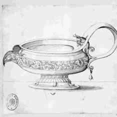 Copa con asa con cuerpo de serpiente y cabeza de fauno