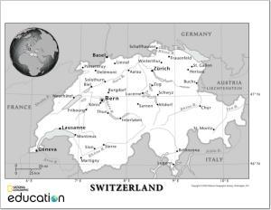 Mapa de ríos y ciudades de Suiza. National Geographic