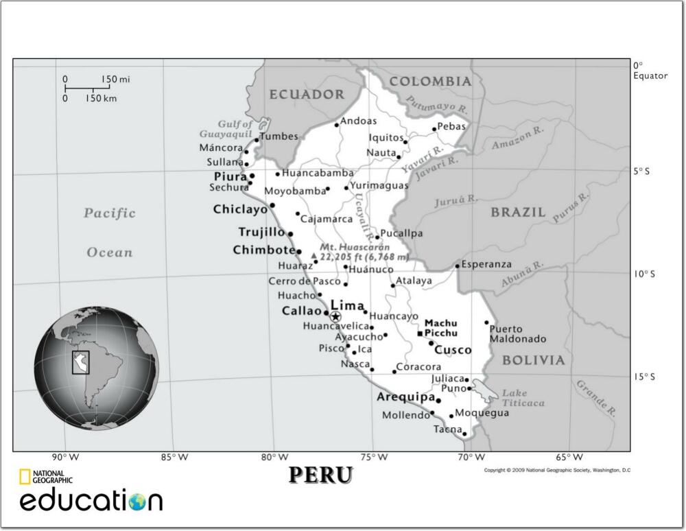 Mapa de ríos y ciudades de Perú. National Geographic