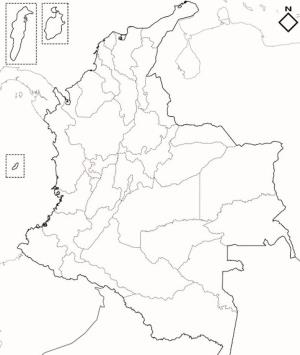 Mapa de departamentos de Colombia. Blographos
