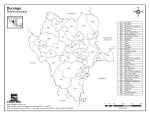 Mapa de municipios de Durango. INEGI de México