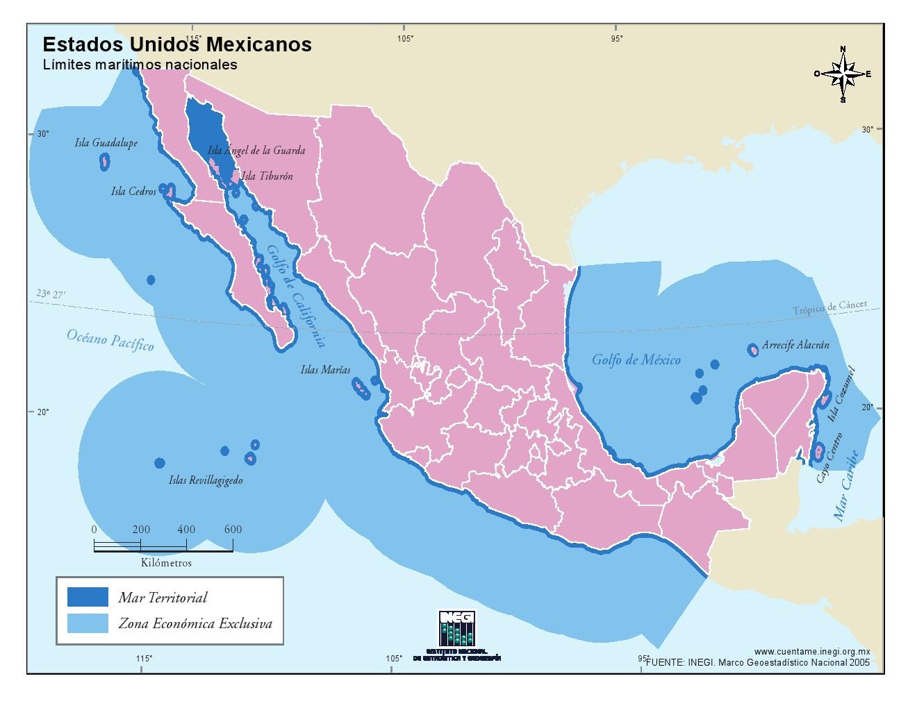 Mapa de costas de México. INEGI de México
