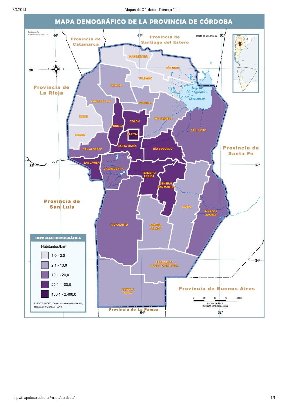 Mapa demográfico de Córdoba. Mapoteca de Educ.ar