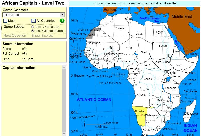 Capitals of Africa.  Intermediate. Sheppard Software