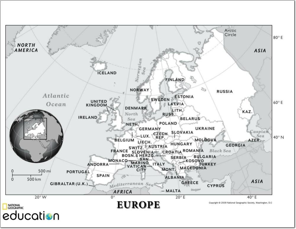 Mapa de países y ciudades de Europa. National Geographic