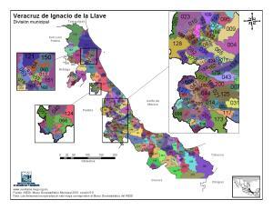 Mapa en color de los municipios de Veracruz. INEGI de México
