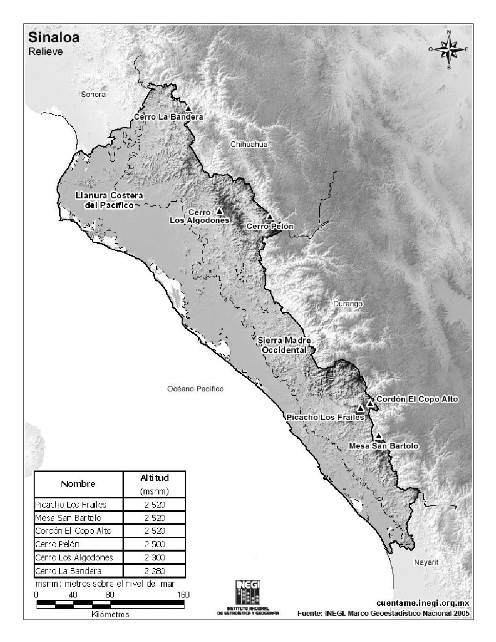 Mapa de montañas de Sinaloa. INEGI de México