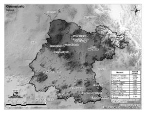 Mapa de montañas de Guanajuato. INEGI de México
