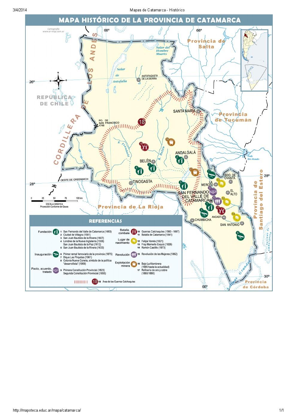 Mapa histórico de Catamarca. Mapoteca de Educ.ar