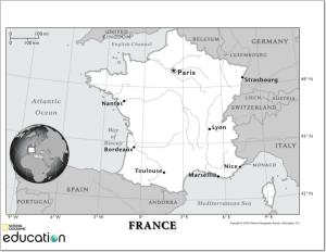Mapa de ríos de Francia. National Geographic